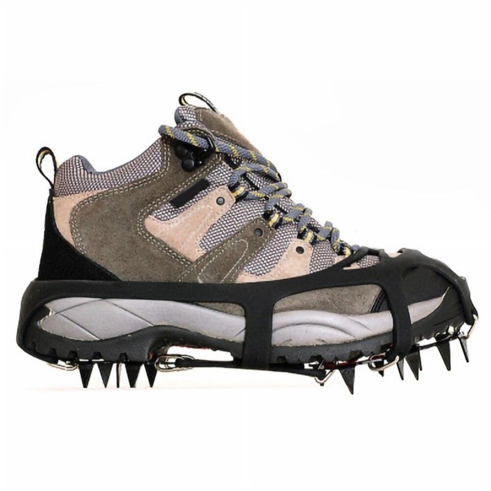 18 dientes crampones no resbalón hielo nieve escalada de goma de Anti-deslizamiento zapato cubre Spike zapatos crampones chanclos antideslizantes para la escalada