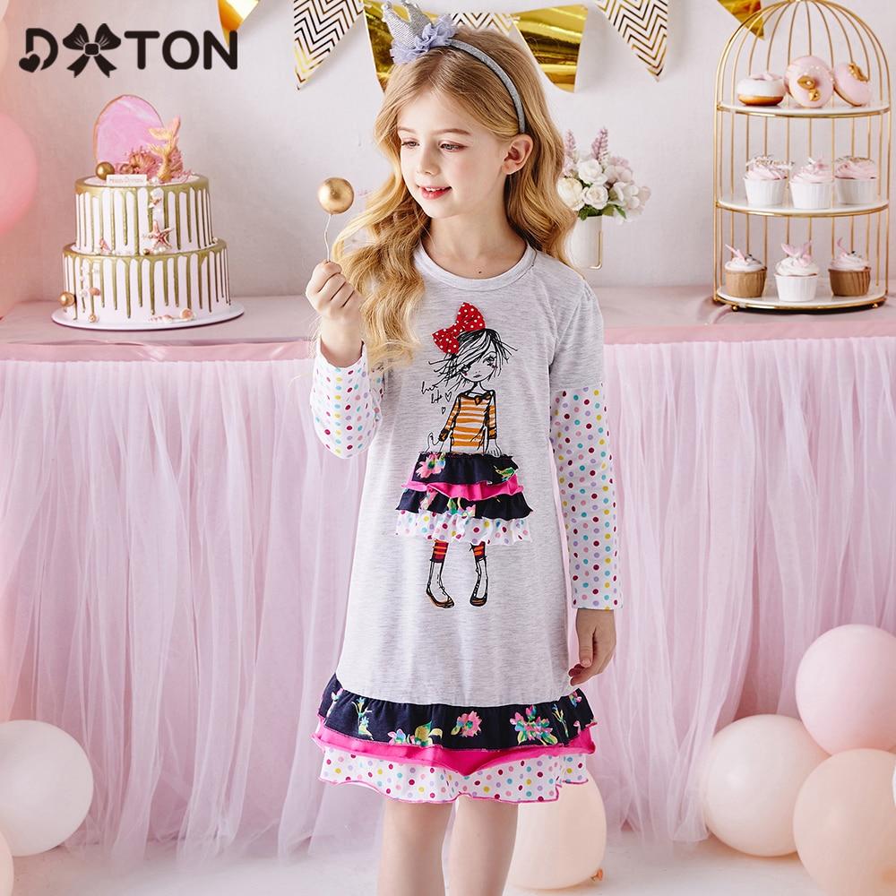 DXTON Autumn Girls Dress Dot Long Sleeve Kids Dress For Girls Appliques Flower Children Casual Dress Cotton Girls Clothing 3-12Y