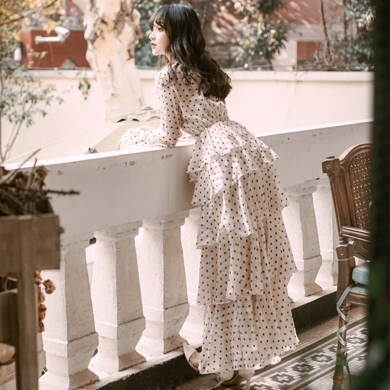 YAMDI boho كعكة فستان الربيع الصيف خمر حفلة أنيقة فاخرة 2020 كم طويل المدرج ألف خط فساتين النساء البولكا نقطة الخامس الرقبة