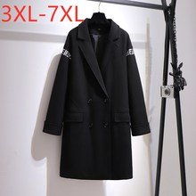 Nieuwe 2020 Dames Winter Plus Size Overjas Voor Vrouwen Grote Lange Mouwen Losse Zwarte Knop Pocket Wollen Jas 3XL 4XL 5XL 6XL 7XL