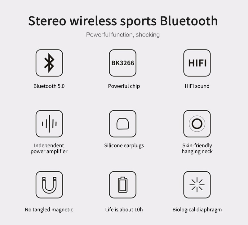 Bluetooth 5.0 Wireless Sports earphone Stereo Subwoofer Hanging Neck Hanging Metal Magnetic Bluetooth Headphone enlarge