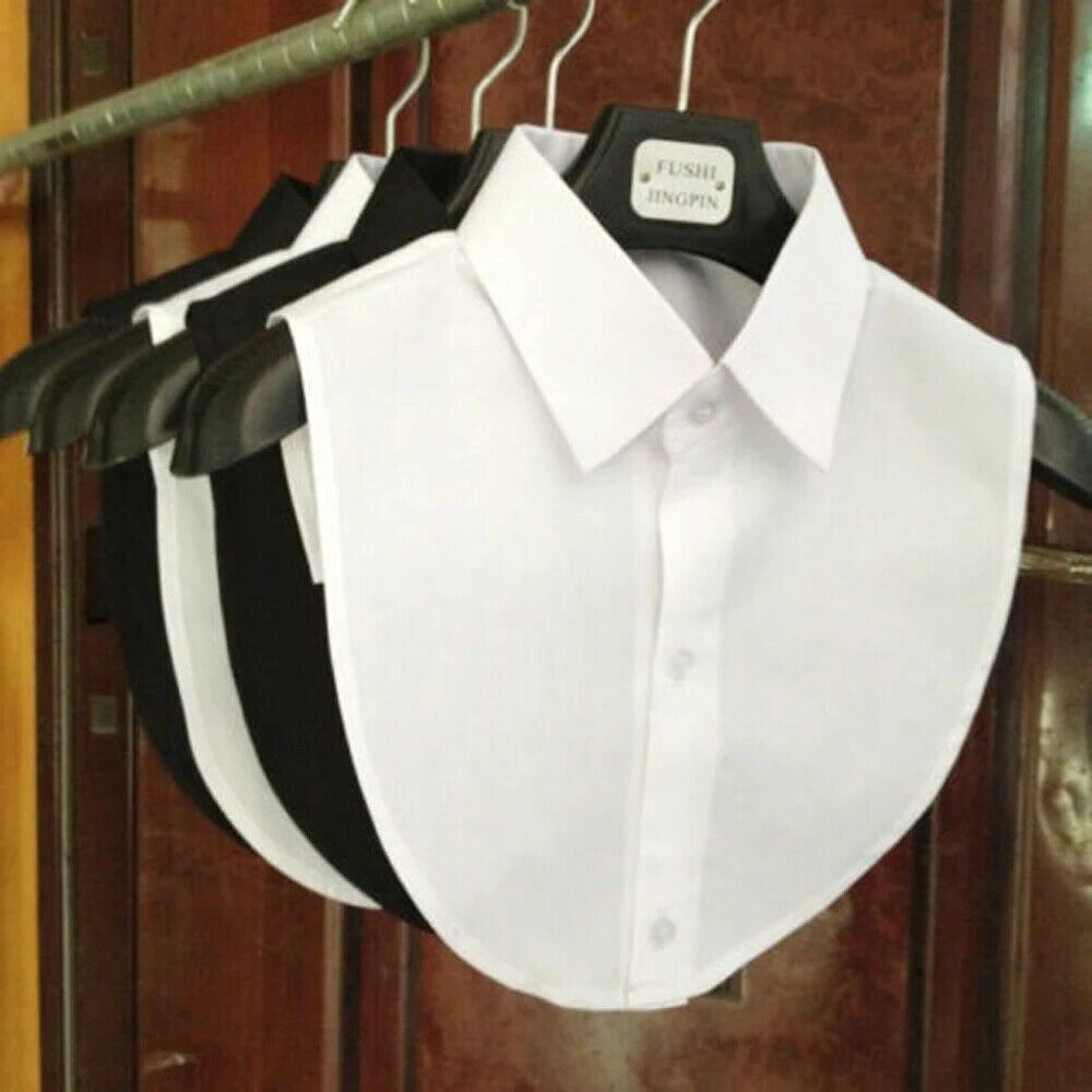 Женская хлопковая блузка с имитацией воротника со стразами, винтажная однотонная Съемная блузка с воротником рубашки, блузка с имитацией л...