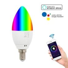 Smart WiFi Candle Bulb E14 RGB 5W Bulb Smart Speaker Voice Tuya/Smart Life APP Control for Alexa/Google Home/IFTTT
