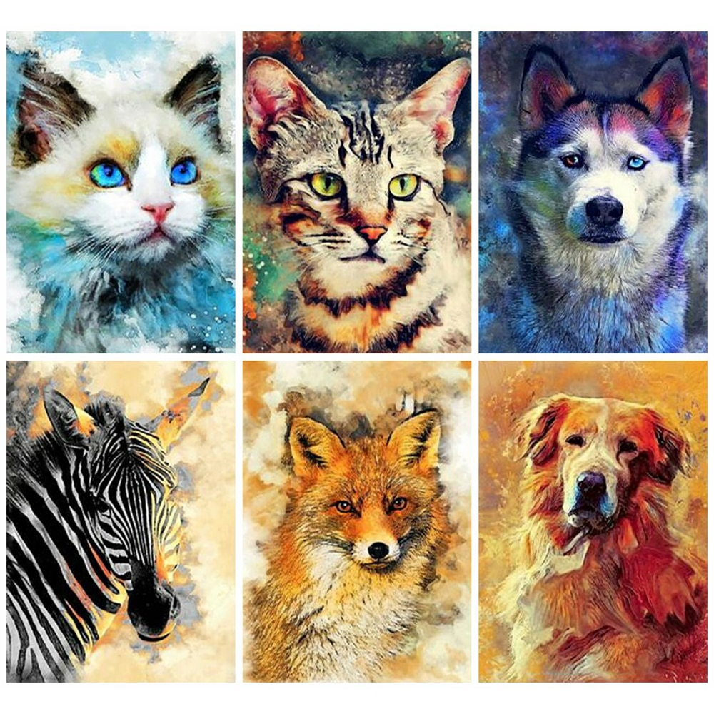 HUACAN Diamond Painting Kits Dog Mosaic Decor Home Cat Arte Diamante Embroidery Animal Home Decoration