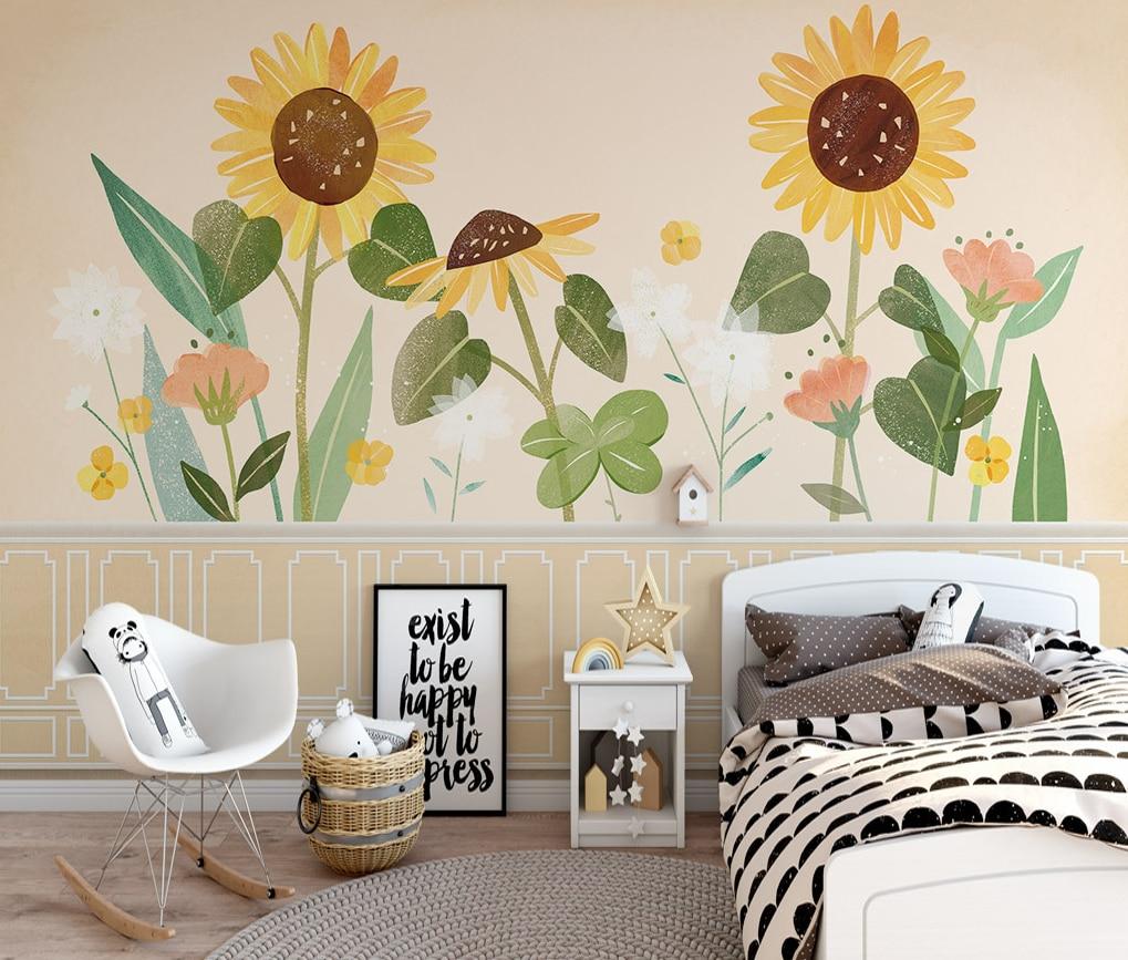 Пользовательский фон Стена подсолнух цветок растение спальня гостиная фон Стена фотообои 3d стена для