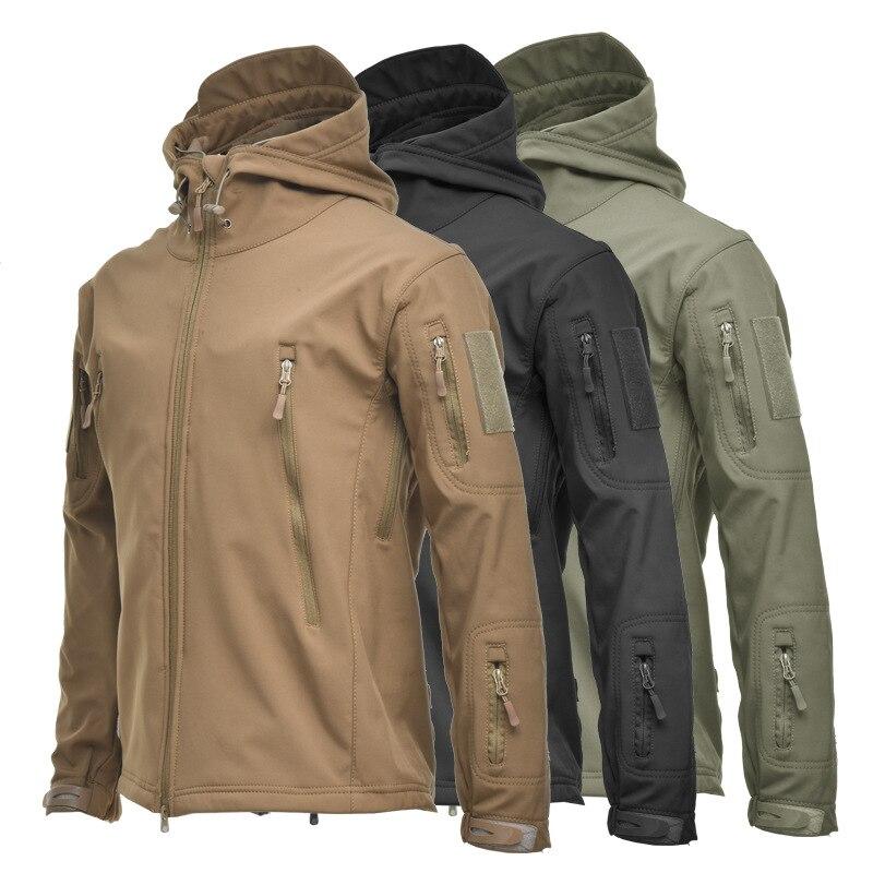 Chaqueta táctica suave de la cáscara de los hombres Camo forro polar forrado chaqueta de senderismo térmico impermeable a prueba de viento escalada cortavientos