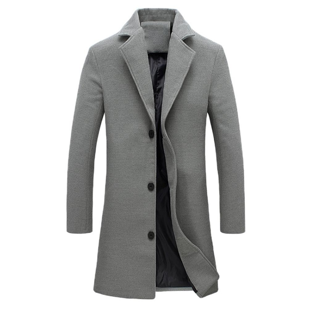 Hombres Invierno Abrigo gris negro Cuello de solapa de Lana mezcla de...