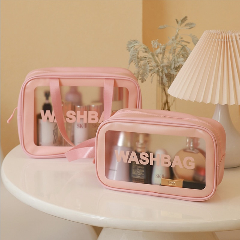 Style A PU+Frosted Translucent Cool Summer Wash Bag Makeup Bag Cosmetic Bags for Women Pouch Organiz