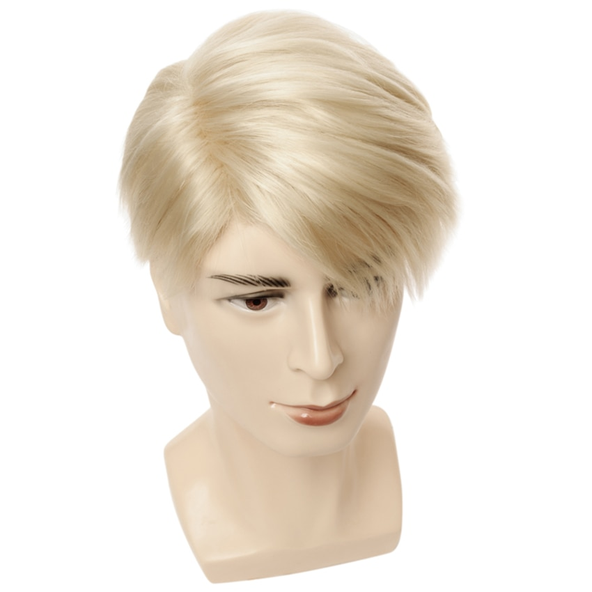 Short Blonde Wigs Men Synthetic Wig Male Straight Side Parting High Temperature Fiber
