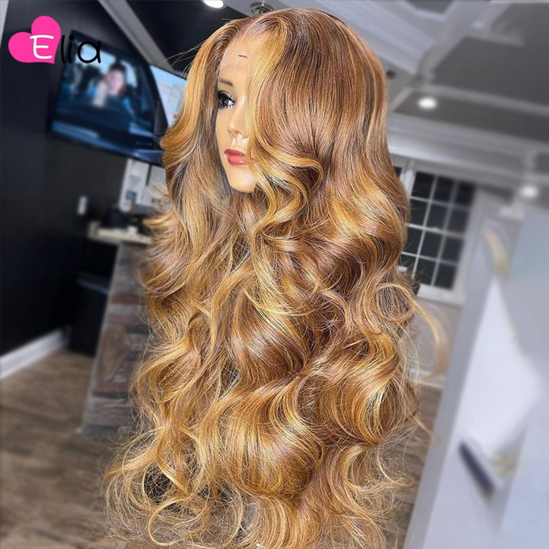 Elia Highlights Blonde Lace Frontal Wig 4x4 Closure Wig Body Wave Brazilian Human Hair Wig PrePlucked For Women Natural Hairline