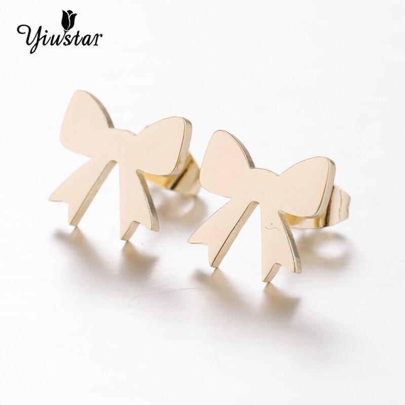 yiustar Bowknot Stainless Steel Ear Earring Elegant Charming Earrings Cute Geometric Earrings For Women Holiday Travel Keepsake