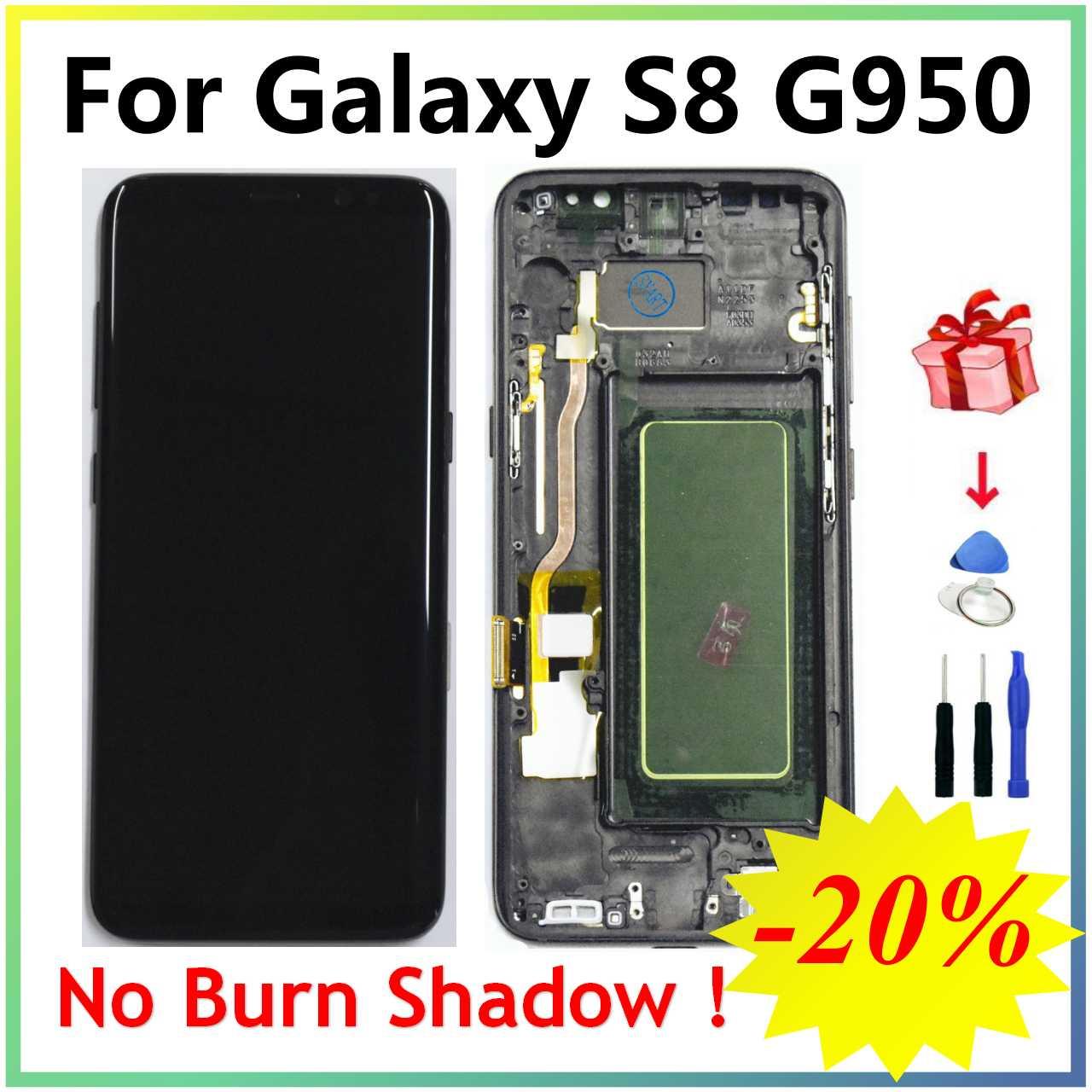 سوبر AMOLED S8 LCD مع الإطار لسامسونج غالاكسي S8 G950 G950F عرض S8 زائد G955 G955F شاشة تعمل باللمس محول الأرقام