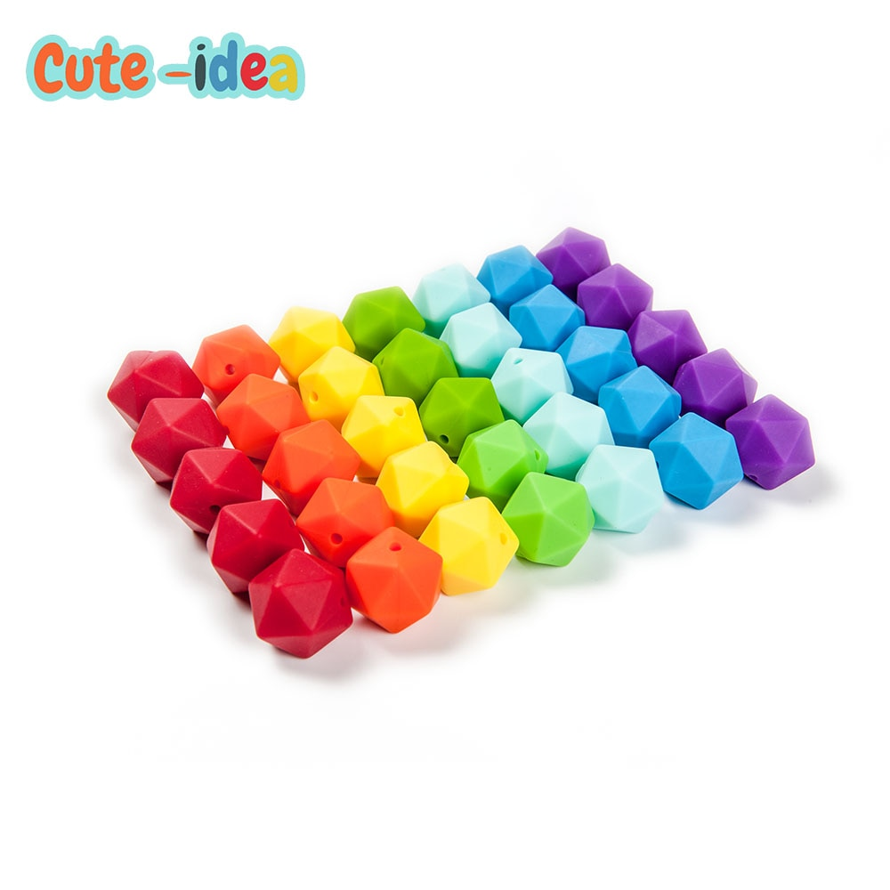 Cute-idea 17mm Icosahedron Silicone Beads 1000pcs Food Grade Baby Teething Beads DIY baby products Toy  Infant Pacifier Chain