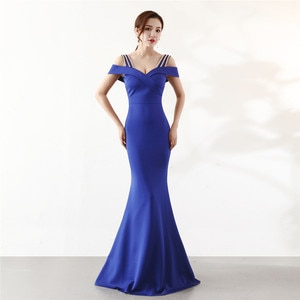 Evening Dresses Plus size Customized Boat Neck Off the Shoulder Sleeves Mermaid Floor-length Beading Formal Dress Women R1079
