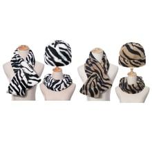 3Pcs Unisex Zebra Stripes Beanie Hat with Scarf Set Thicken Fuzzy Plush Outdoor Windproof Cuffed Sku