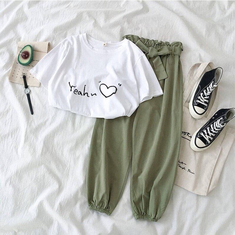 Conjunto de dos piezas 2020 camiseta informal de manga corta con estampado de letras para mujer + Pantalones con cinturón de lazo 2 uds trajes chándales de mujer