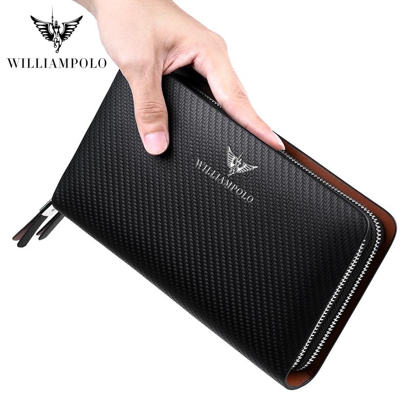 WILLIAMPOLO Men's Wallet Business Large Capacity Clutch Bag Genuine Leather Clutch Wallet Double Zipper Handbag Long Men Wallet