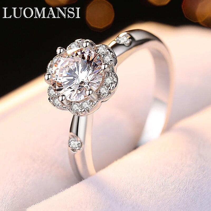 Luomansi 1CT 6.5 مللي متر D اللون تألق مويسانيتي الدائري (اجتاز اختبار الماس) 100%-S925 فضة مجوهرات حفلات الزفاف