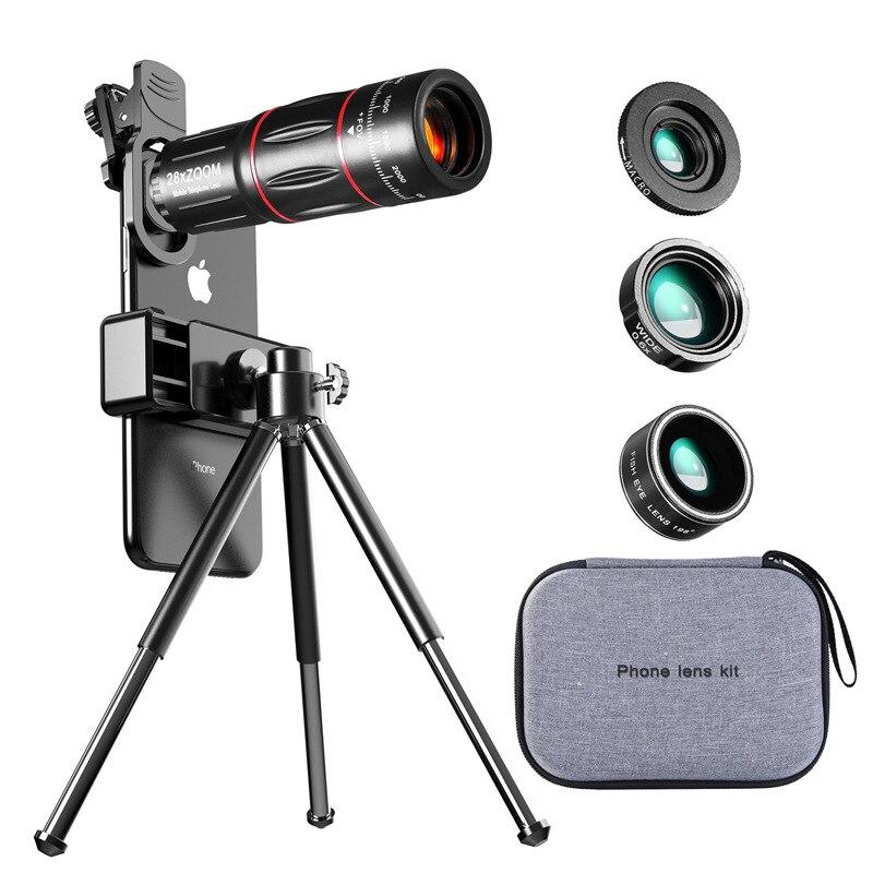 Timluor 28X lente telescopio de metal monocular lente de cámara de teléfono HD con mini trípode de selfie para iPhone 78 Xiaomi todo Smartphone