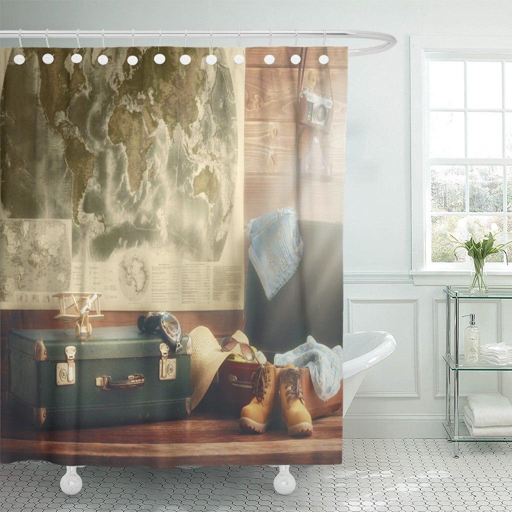 Maleta de preparación de viaje y accesorios en estilo Vintage en el de los mapas de pared de madera mundo Cortina de ducha impermeable poliéster