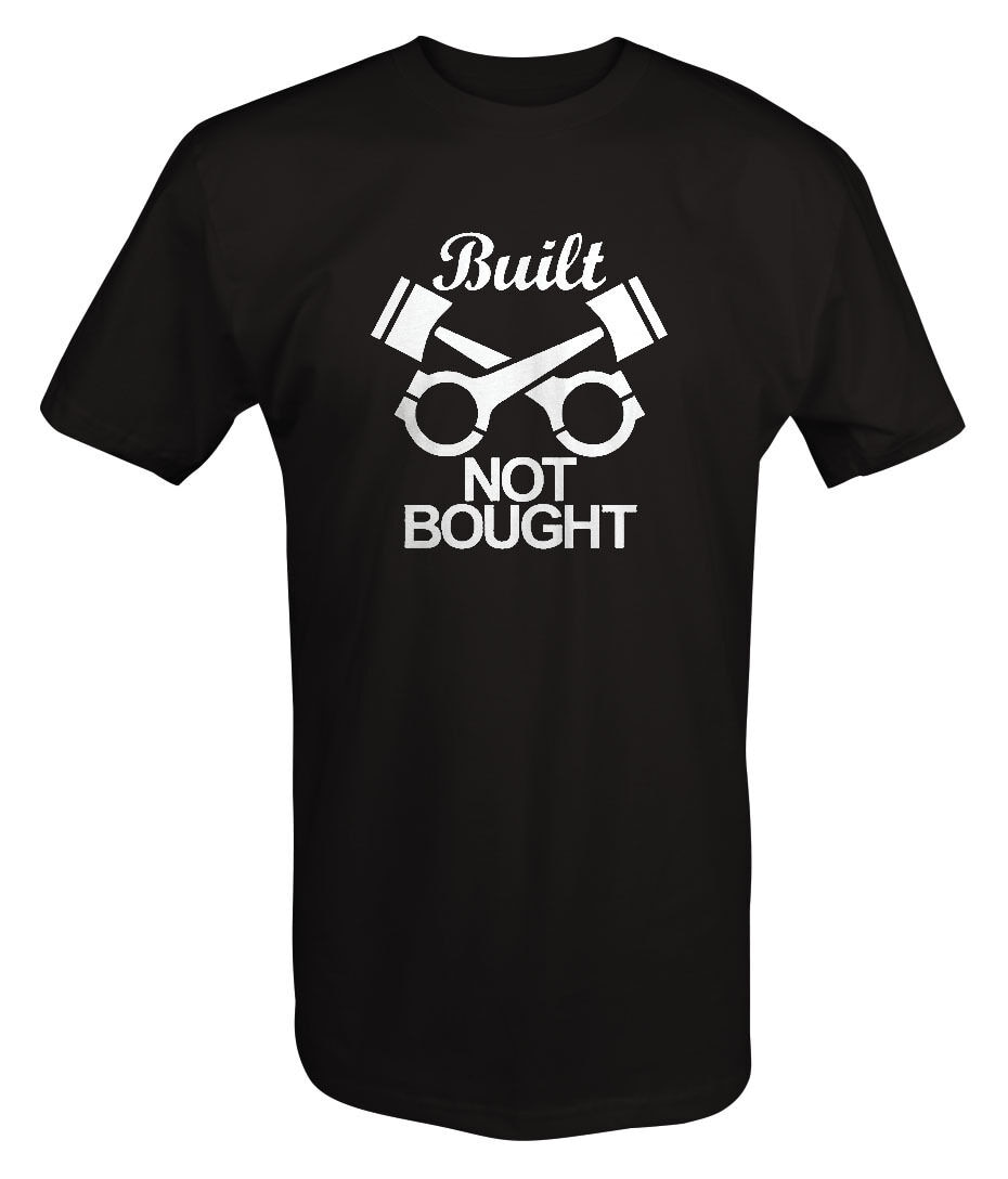 Camiseta personalizada con motor de pistones mecánicos Built Not Bought