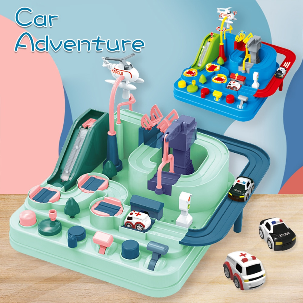 School Bus Big Adventure Children Toy Education Railcar Toy Baby track Car Macaron Color Table Games Boy and Girl Puzzle Toys