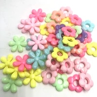 28pcs 20mm fashion acrylic mixed colorful flower big beads spacer beads diy necklace bracelet jewelry making findings