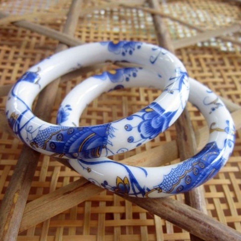 2021 Ethnic Ceramic Bangles Traditional bracelet Blue and White Porcelain Bracelets for Women Handmade Wristband Luxury Jewelry