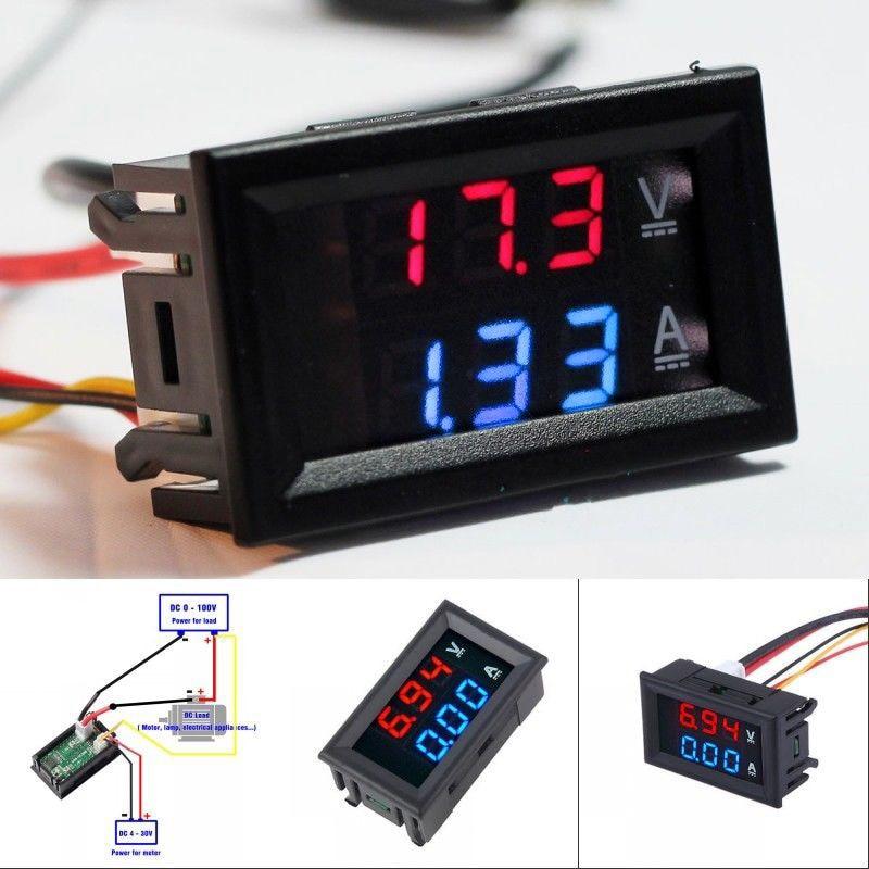 Горячая Распродажа, новый Вольтметр Амперметр постоянного тока 100 в 10 А, синий + красный светодиодный двойной цифровой вольтметр, измеритель напряжения и тока, инструмент для домашнего использования