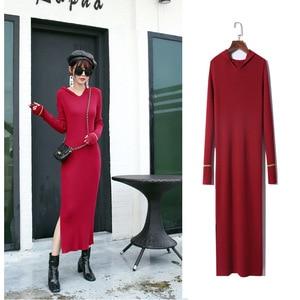 2020 autumn/winter bottom sweater outside wearing a knitted midi-length hooded slim dress girl.