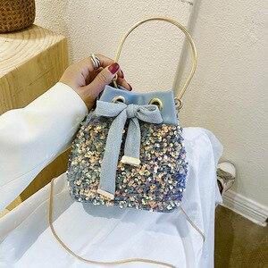 Sequined Bow Bucket bag 2020 Small Totes With Metal Handle Women's Designer Handbag Chain Shoulder Messenger Bag Phone Purses