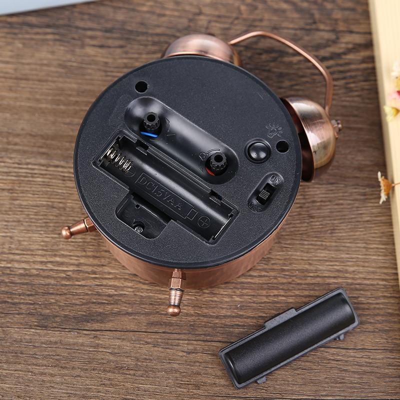 1 Piece PVC Alarm Clock Round Antique Bronze Home Decor Retro Clock Creative Table Desktop Clock Cool Alarm Clock Works Of Art  - buy with discount