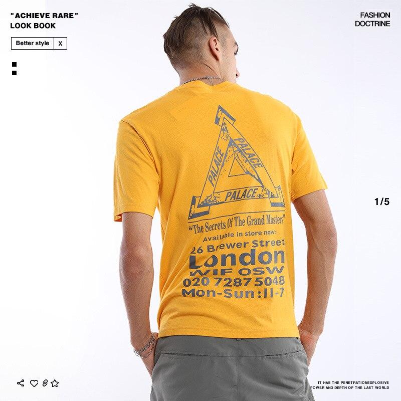 Palace Life 2019 Europe et amérique marque populaire été nouveau Style triangulaire Logo créatif pur coton loisirs T-shirt hommes et