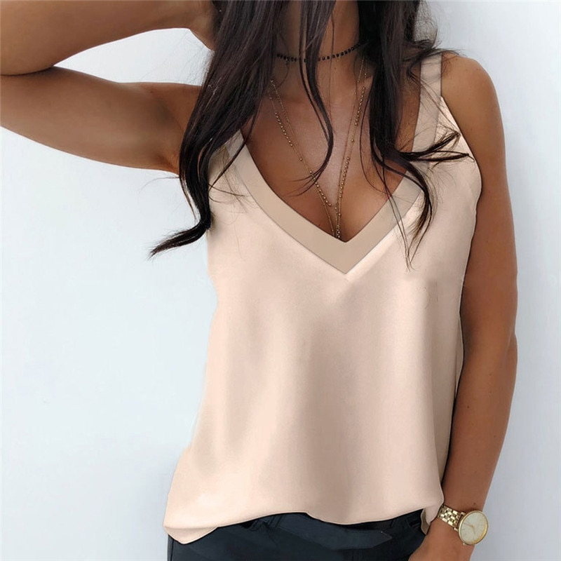 Summer 2021 Sexy V-Neck Sleeveless Blouse Shirt Women Elegant Solid Loose Hollow Out Tops New Lady Off Shoulder Plus Size Blusa kissmilk 2018 plus size hollow out women t shirts large size off shoulder long sleeve crossed female big size sexy lady tops