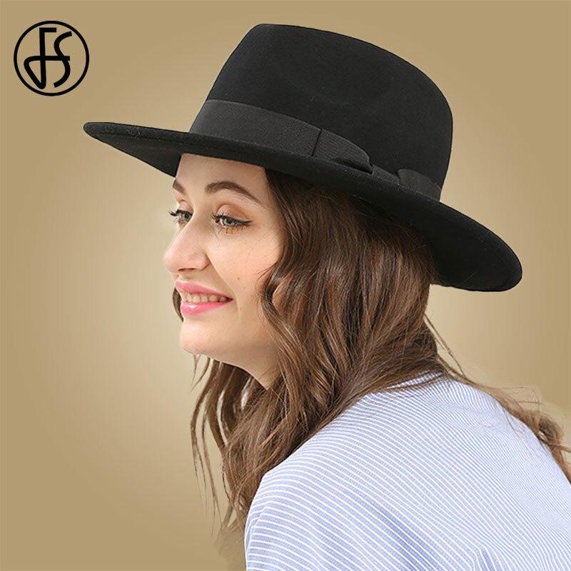 FS-قبعة نسائية من الصوف ، قبعة سوداء عتيقة ، قبعة عريضة الحواف ، أنيقة ، فيونكة ، بنما ، خريف وشتاء
