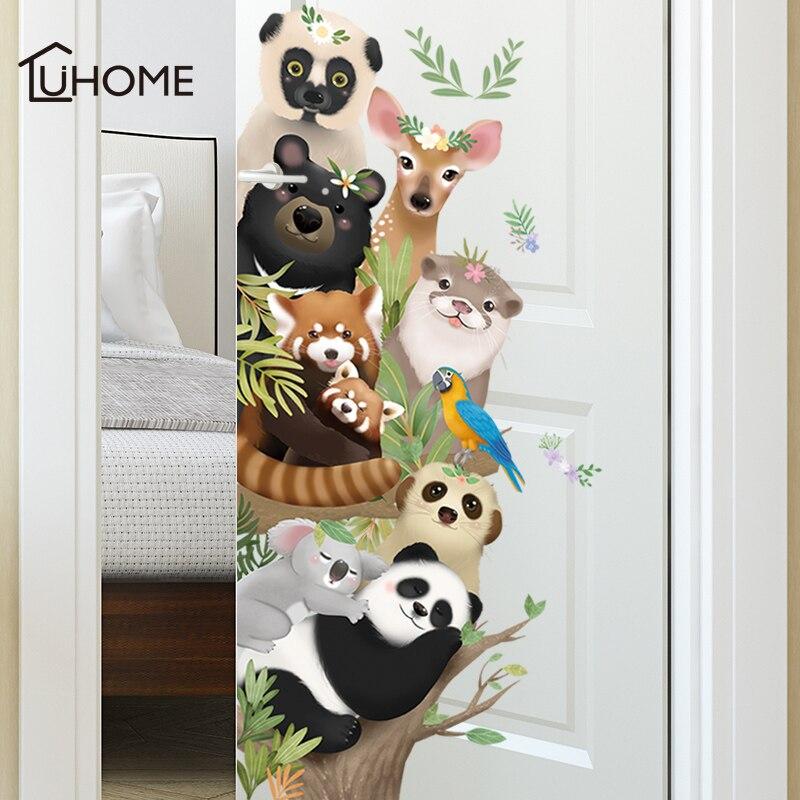 Наклейки на стену с рисунком милой панды, жирафа, животное коала, для гостиной, детской комнаты, самоклеящиеся обои из ПВХ