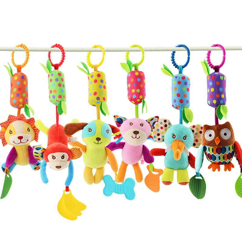 Infant Stroller Hanging Doll Teether Animal Rattles Toys Wind Chimes Animal Theme Baby Toys