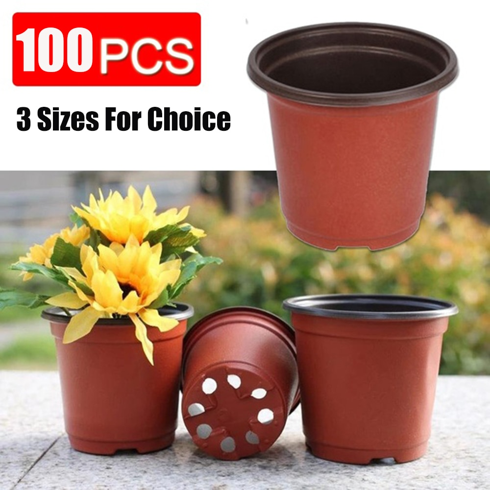 100pcs 12*10*9CM Plastic Grow Box Fall Resistant Seedling Tray For Home Garden Plant Pot Nursery Transplant Flower Seedling Pots