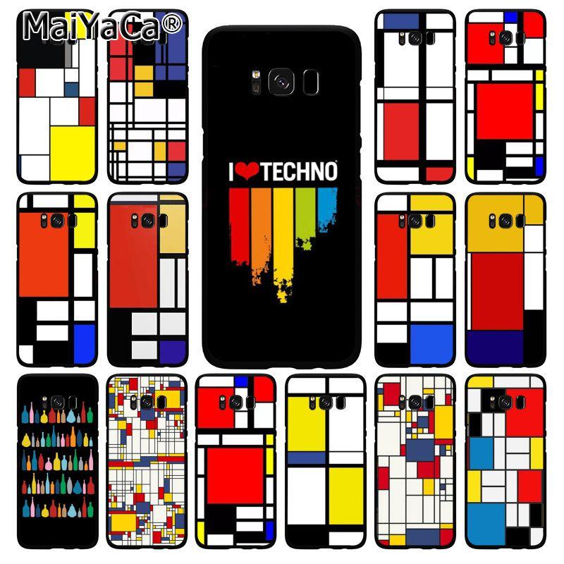 MaiYaCa mondrian Color cuadrado de arte estética caso de teléfono para Samsung Galaxy S20 S5 S10 S10E S6 S7 S8 S9 más S10lite S5