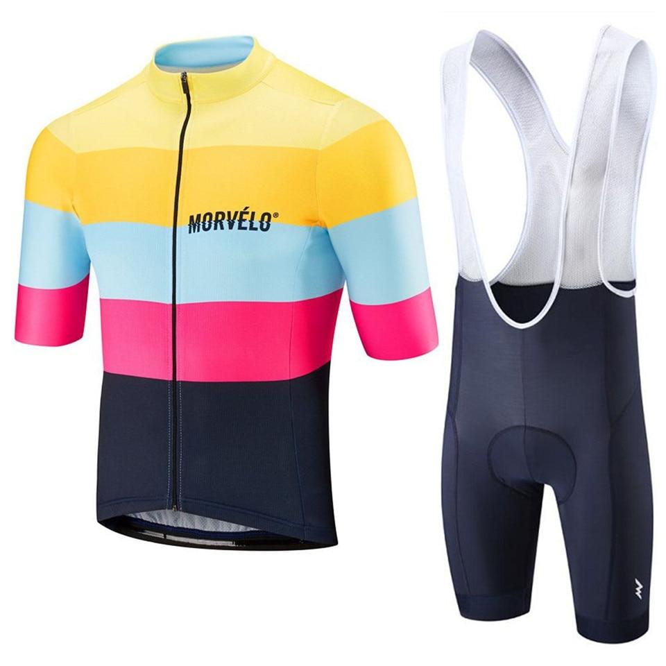 Verano Morvelo 2020 ropa de ciclismo para hombres kits de ropa de manga corta MTB Culote transpirable con tirantes maillot ciclismo set 19D gel pad