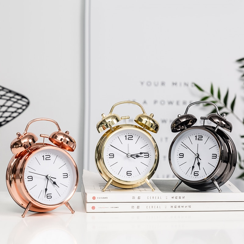 Reloj despertador moderno minimalista creativo reloj de Metal moderno puntero doble timbre escritorio mesita de noche infantil decoración del hogar