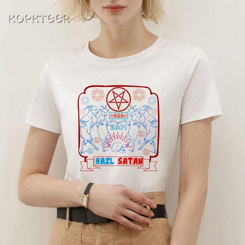 Baphomet satan vintage feminino camiseta gótico estético gráfico de manga curta impressão tshirt feminino ulzzang roupas