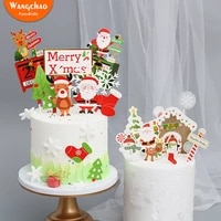 4 styles santa tree deer snowflake cake decoration merry christmas cake topper kids favors party supplies christmas decorations