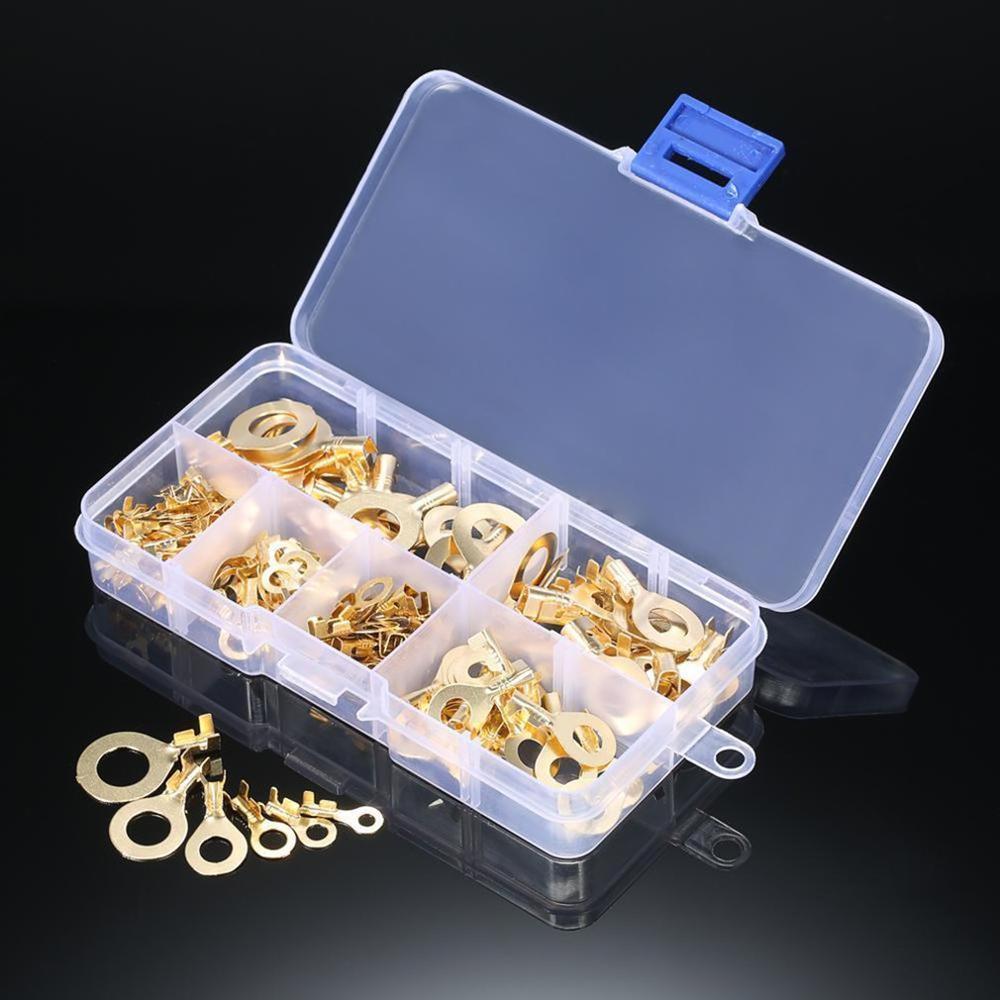 Terminales doradas tipo anillo de 150 Uds., Latón Dorado, conectores de crimpado no aislados, conectores de Cable de 3,2mm-10,2mm