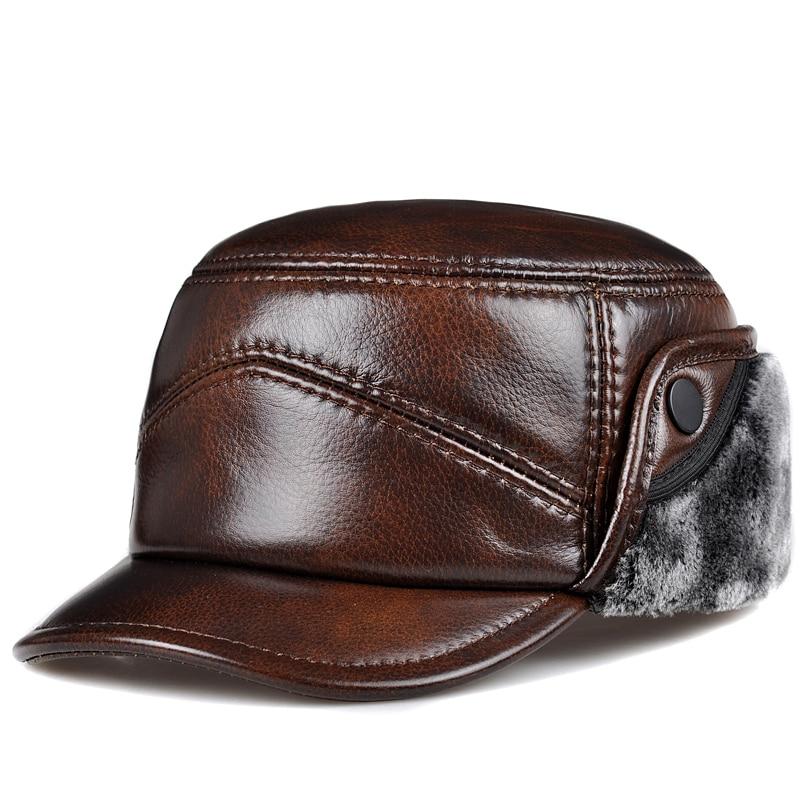 RY0203 2020 غطاء للأذنين جلد طبيعي فو الفراء قبعة الرجال الذكور رشاقته قاذفة القبعات الشتاء يندبروف قبعة تدفئة شقة Gorras أبي هدية