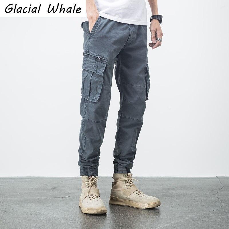 Glacialالحوت الرجال السراويل البضائع الرجال جيوب جانبية موضة الهيب هوب ركض الذكور اليابانية الشارع الشهير بنطلون متعدد جيب السراويل الرجال