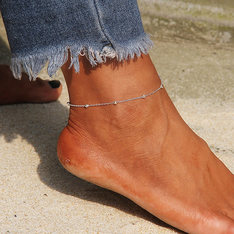 USTAR New Anklet Ankle Leg Bracelets For Women Stainless Steel Beads Feet Chain Summer Beach Barefoo