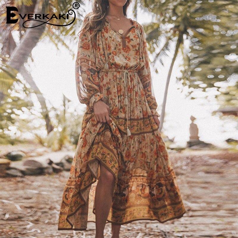 Everkaki Boho imprimé fleuri longue robe femmes glands cou attaché gitane Vestidos dames Vintage Maxi robes femme 2020 printemps nouveau