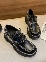 decorative chain thick bottomed muffin shoes womens 2021 new black small leather high lace up single shoes