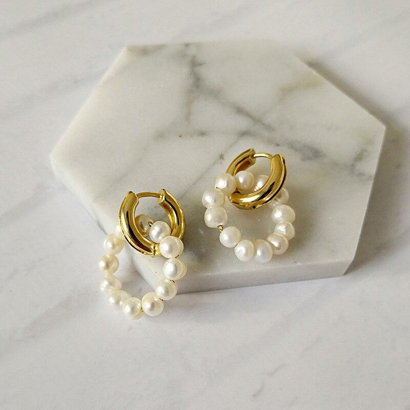 Pendientes de aro de perlas de agua dulce Vintage 10 par/lote